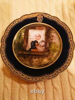 Antique Rare Set 12 Cobalt Plaques Bleu & Or Portrait Cabinet Picard Signed