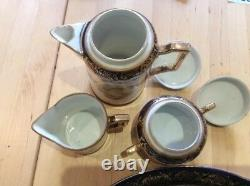 Antique Rare Tea-tray Tea Service For Two Cobalt Blue Burnished Gold Stunning