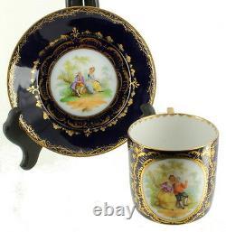 Antique Royal Vienna Portrait Tea Cup - Soucoupe Élégant Cobalt Gold Bindenschild