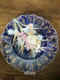 Antique Rs Prussia Point & Clover Plaque De Gâteau Bleu Cobalt Or Victorien Mint Wow