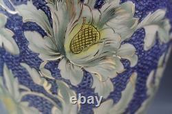 Antique Santarelli Italie Majolica Énorme 15 Vase Cobalt Blue Gold