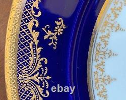 Antique Tiffany & Co. Cauldon Ltd Angleterre 2 Luncheon Plaques Cobalt Gold Gilt