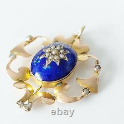 Antique Victorienne 9ct Gold Seed Pearl & Cobalt Blue Enamel Pendentif Floral 3.6g