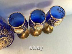 Antique Vintage Cobalt Bleu Or Peint À La Main Liqueur Set Decanter 6 Cordiales