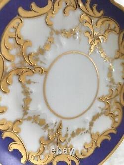 Antique Wonderful Elite Limoges Cobalt Blue And Gold Demitasse Cup & Soucoupe
