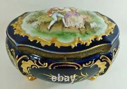 Antique/vtg 8 Portrait Cobalt Blue & Gold Porcelaine Jewelry Casket Dresser Box