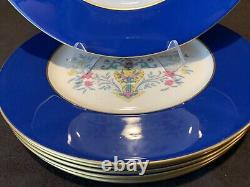 Assiette De Dîner Lenox Blue Tree 10 3/8 Dia Cobalt/dark Blue Gold Rim Set De 6 Y98