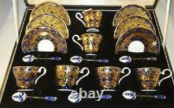 Aynsley Boîte Dorée Cobalt Blue Coffee Set & Enamelled Silver Spoons C1950