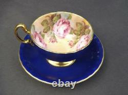 Aynsley Cabbage Rose Cobalt Blue Gold Trim Cup - Soucoupe Anglais Bone Chine Exc