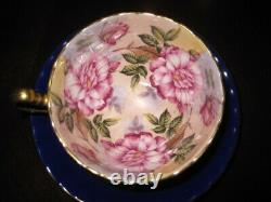 Aynsley Cabbage Roses Teacup & Soucoupe Pink Roses Cobalt Blue & Gold Excellent