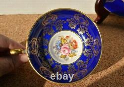 Aynsley England Tea Cup And Saucer, Cobalt Blue/or Tined, Fleurs D'occasion