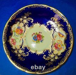 Aynsley Exquisite Aristocrat Cobalt Blue Cup & Soucoupe Années 1940