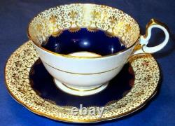Aynsley J. A. Bailey Flowers Exquisite Hand Painted Cobalt Blue Gold Cup Soucoupe