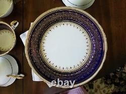 Aynsley Porcelaine Balmoral Fine Patern Bleu Cobalt Gold Trim Magnifique # Lace 7098