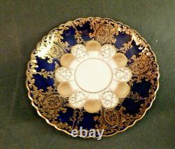 Aynsley Vintage Bone China Gold And Cobalt Blue Tea Cup And Saucer -six Sets