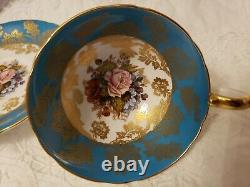 Aynsley-england-handpainted Cup And Saucer With Pink Rose And Gold