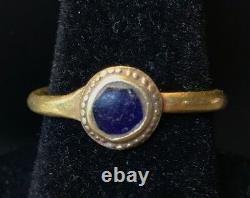 Bague En Or Romain Antique Bleu Cobalt Verre Insérer Wearable! Piece Charme