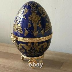 Belle Faberge Cobalt Bleu & Or Limoges Oeuf Czarevitch Impérial