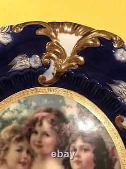 Belle Plaque Royale Antique De Cobalt Et D'or De Vienne Avec Le Portrait
