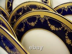Belles Lenox Bleu Cobalt Raised Fleur D'or Dinner Plates Ensemble De 12