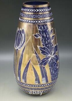 Bohême Antique Cobalt De Verre Et Recouvrement D'or Et Tulipes D'émanel Vase