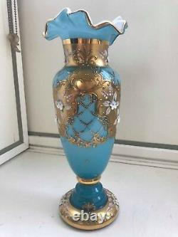 Bohême Bohême Bleu Cobalt Or Plaqué Vase En Porcelaine