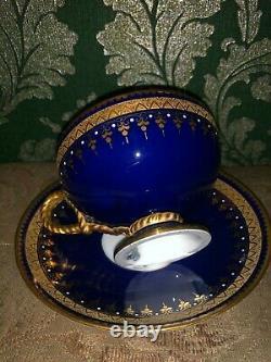 Brown Westhead & Moore Poignée De Corde Jewel Soucoupe Tasse De Thé Bleu Cobalt Et Or 1860