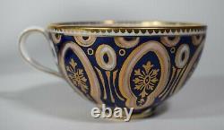 Cauldon Cup & Soucoupe Cobalt Blue Design With Gold Highlights. Fait Pour Tiffany &