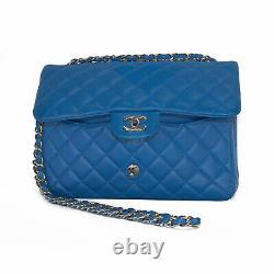 Chanel Cobalt Bleu Jumbo Double Rabat En Peau D'agneau Sac En Cuir, Matériel De Ton Or