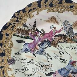 Chargeur De Plaque Chinois Antique Peint À La Main Émail Cobalt Bleu Gild Gold Fox Hunt