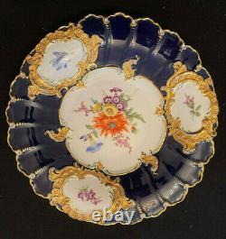 Chargeur De Plaques Florales Meissen Cobalt Blue & Gold
