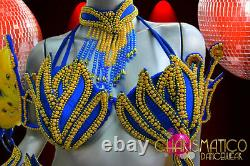 Charismano Cobalt Bleu - Golden Brazilian Rio Carnival Samba-style Costume Ensemble