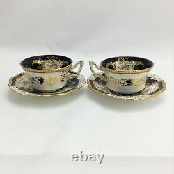 Coalport Porcelaine Works Cup & Saucer Teacup Cobalt Blue Gold Jante Antique