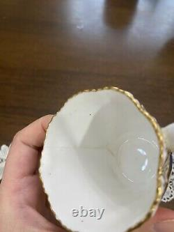 Coalport Swirl Fleur Levée Cobalt Blue Tea Cup Saucer Or As Is