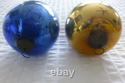 Cobalt Blue & Gold Kugel Verre Ornements De Noël Allemands