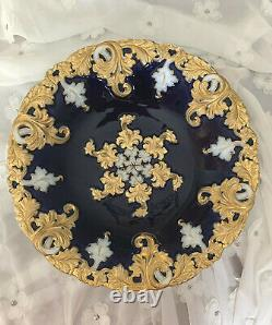 Cobalt Peint À La Main Meissen & Gold Rococo Style Bowl Première Qualité 11