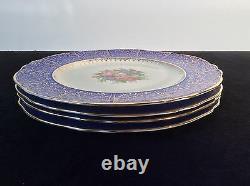 Cobalt Royal Blue Set 4 Assiettes De Dîner Chargeurs 11 Floral 22k Gold Filigre Vtg