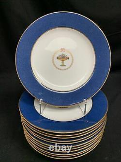 Copeland Spode Bande Bleue Cobalt Or Trim Assiettes De Dîner Set 12 Pcs 10,5