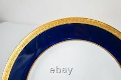 Copeland Spode Cobalt Blue Gold Incrusted Dinner Plates Set 10 -10 1/4d Antique