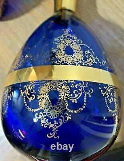 Déconteur En Verre Vénitien Vintage Avec 6 Verres Bleu Cobalt Avec Plateau D'or 22k