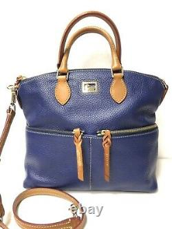 Dooney & Bourke Dillen Pebble Leather Double Pocket Satchel Cobalt Blue Nwt 288 $