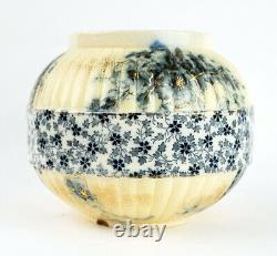 Doulton Burslem Round Vase Bowl Flow Blue Gold Détails Peints À La Main Fin Des Années 1800