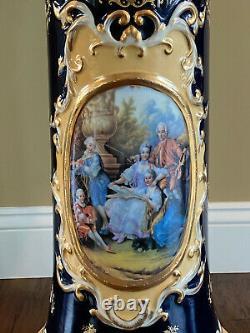 Dresde Richard Klemm Cobalt Blue Gold Portrait Planter Jardiniere & Pédestal