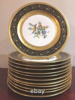 Ensemble 12 Antique Limoges C. Ahrenfeltdt Ca Cobalt Blue Gold Birds Flowers Plates
