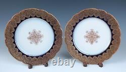 Ensemble 12 Redon Limoges Cobalt Gold Medallion 8.5 Plaques Antique Porcelaine France