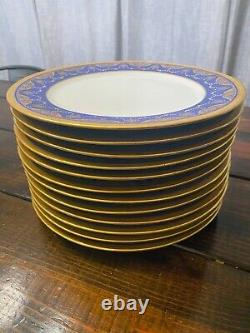 Ensemble De 12 William Guerin Limoges Cobalt/raised Gold Incrusted Dinner Plate 11