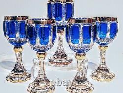 Ensemble De 5 Goulets De Vin De Moser Cobalt Bleu Et Or