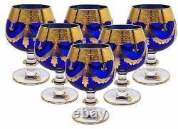 Ensemble De 6 Lunettes En Cristal Interglass Italie Cobalt Blue Italian Brandy Snifters