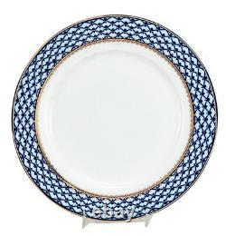 Ensemble De 6 Plaques De Dîner Bleu Cobalt 10.5 Russes 24k Gold Dining Porcelaine