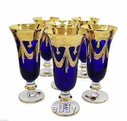 Ensemble De 6 Verres En Cristal Interglass Italie Cobalt Blue Flûtes À Champagne Italiennes